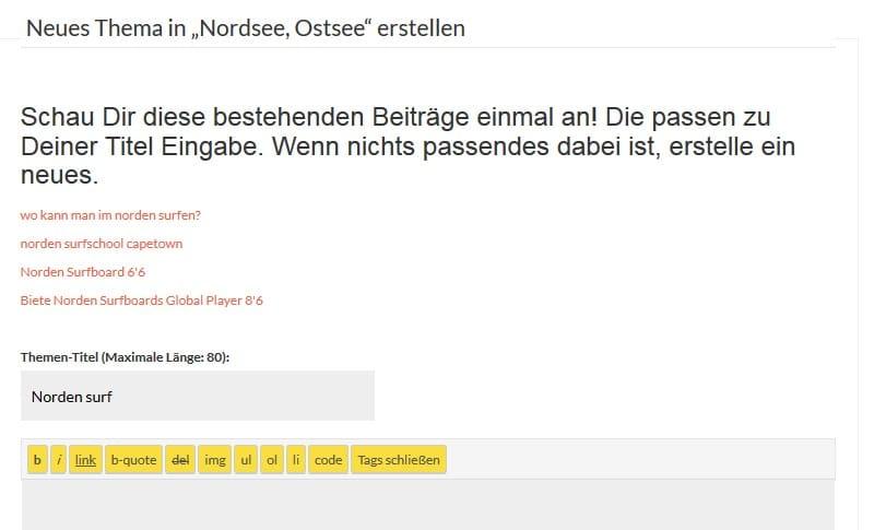 """Neue Funktion: Themen Vorschlag bei """"Neues Thema erstellen"""""""
