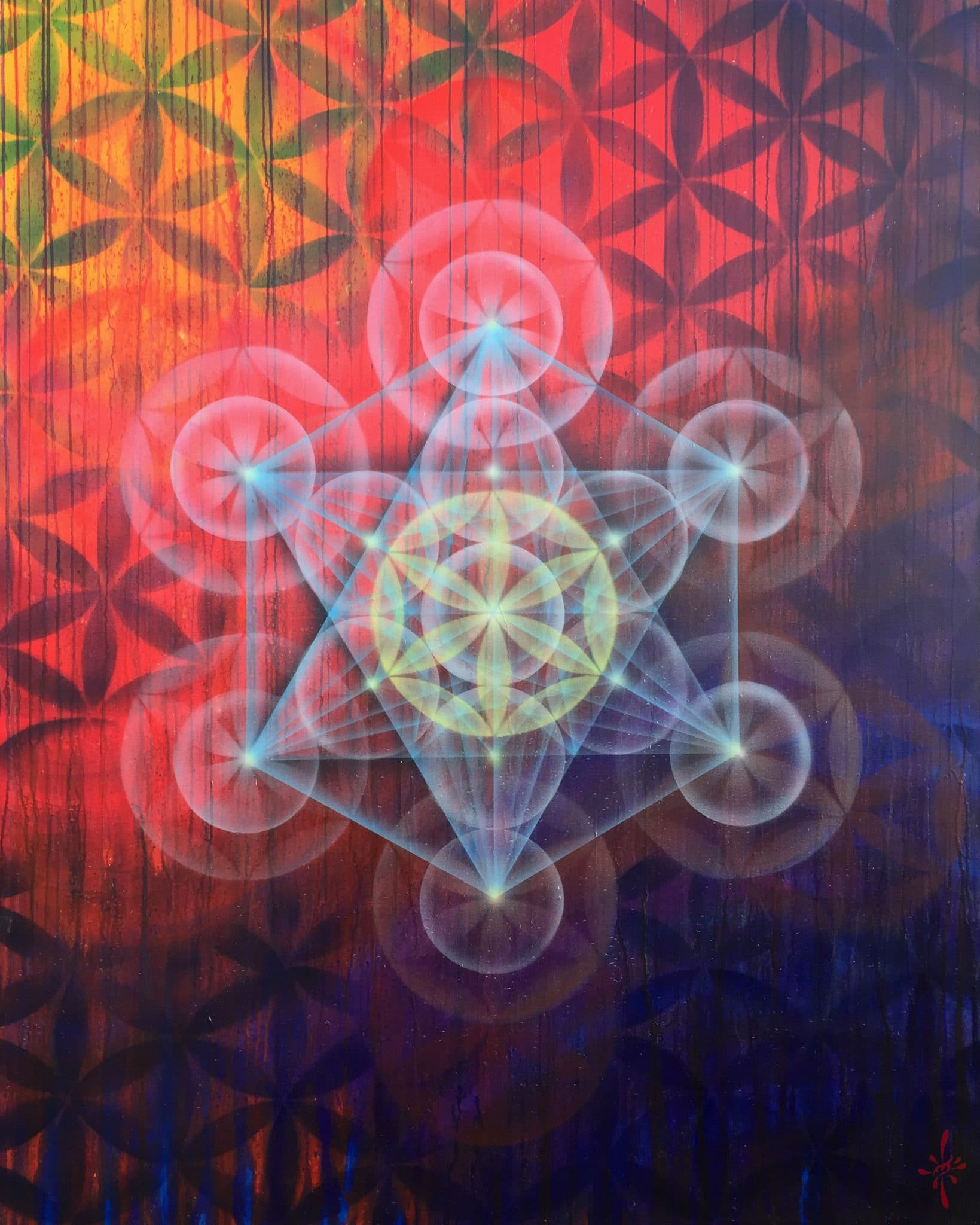 Metatrons Cube Red Flower of life by Drew Brophy 60x48 mixed media on canvas 2015